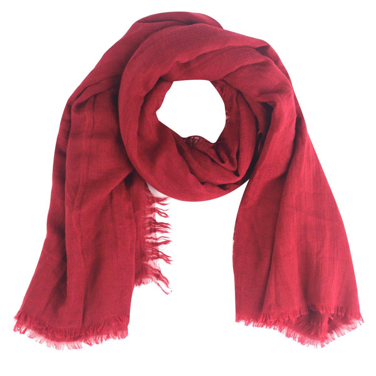 Lady unisex Sciarpa Solid colore puro Frange lunghe Grande oversize in cotone protezione solare dello scialle involucro della spiaggia Infinity 75 x 63 pollici (Rosso) Miss.Travelling 10053