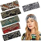 Yeshan Knot Bandana Headbands for Women Boho Paisley Twisted Headbands Retro Flower Printed Elastic Criss Cross Hairband for