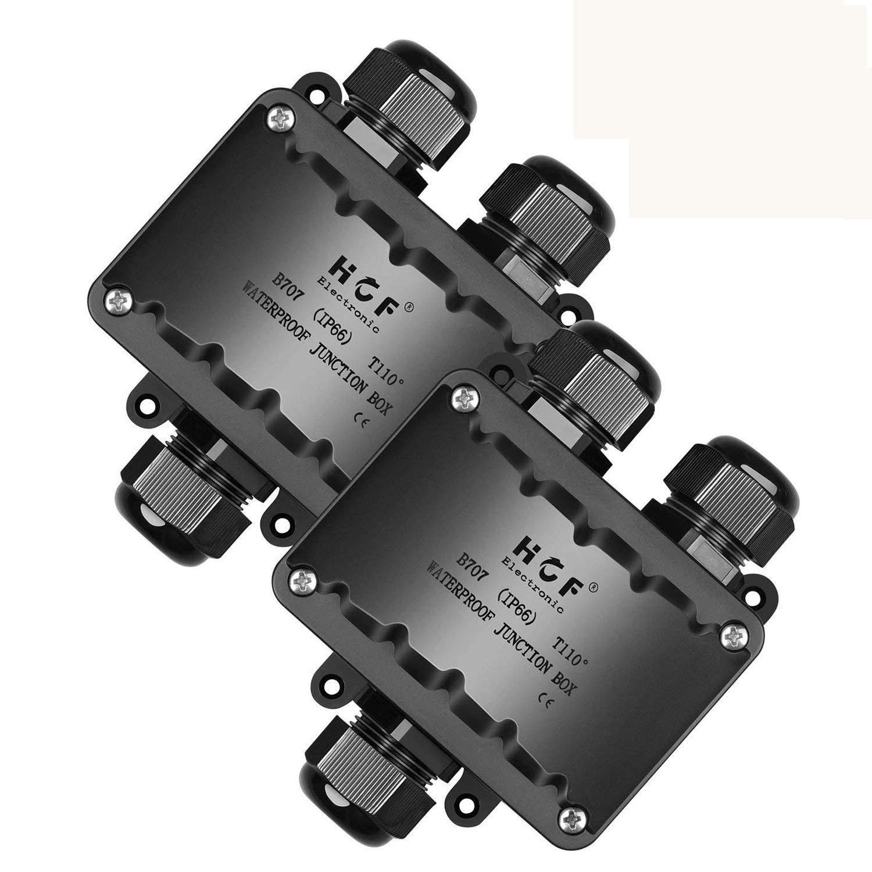 2Pcs Caja de Conexiones,Beauty Star IP66 Impermeable cajas de conexión de cables con 3 Vías subterráneo cajas conexiones electricas para Cable de Diámetro ...