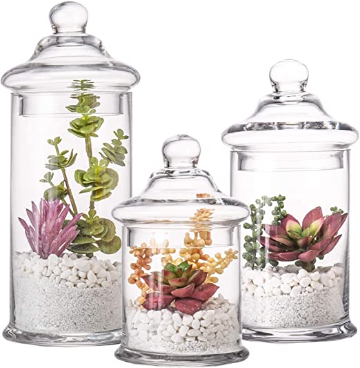 Diamond Star Set of 3 Glass Apothecary Jars with Lids Clear Bathroom Storage Organizer Canister Set for Qtips, Cotton Swabs, Cotton Balls, Bath Salts (H: 11