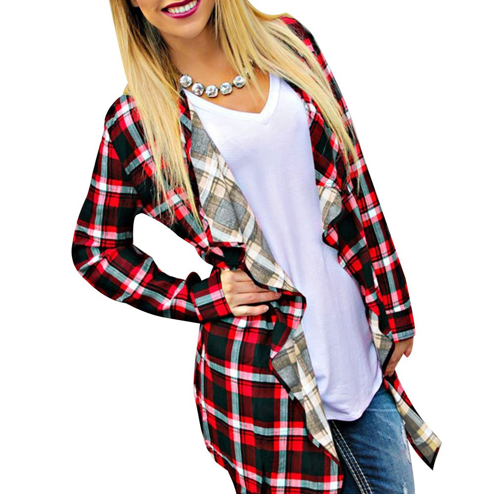 Vin beauty Womens Fashion Long Sleeve Plaid Shirt Tops Coats Plaid M