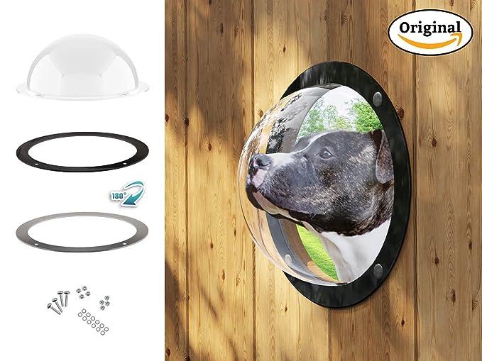 Gardenscout - la portilla con vista al exterior para tu perro, gato e incluso hijo. Hecho de ojo de buey de vidrio acrílico caseta para perro, cercas, ...