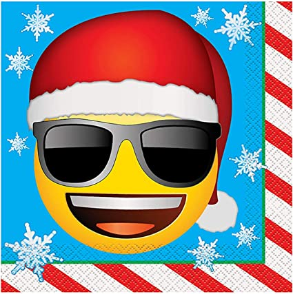 16ct Unique Party Favors 50542 Emoji Christmas Party Supplies Emoji Christmas Paper Party Napkins
