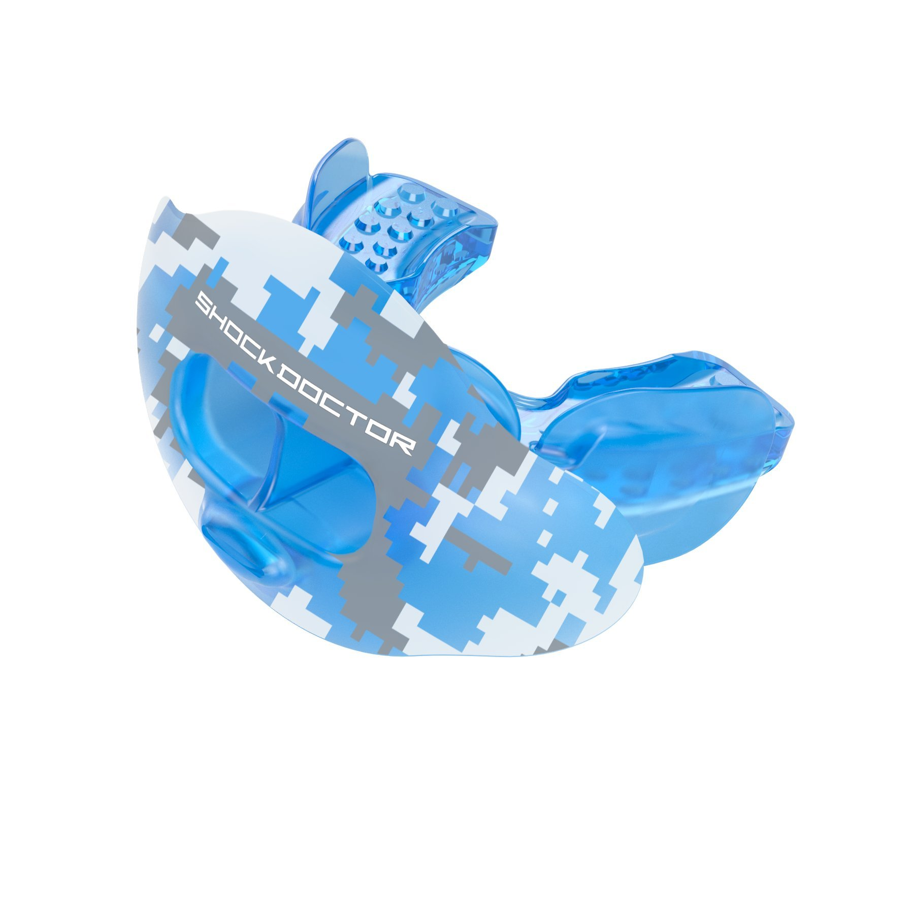 Shock Doctor 3300 Max Airflow Lip Guard Mouthguard With Tether, Trans Blue Camouflage, Adult Size