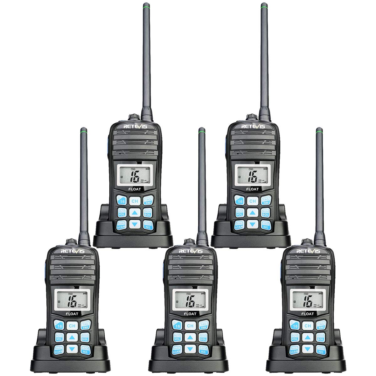 Retevis RT55 Floating Marine Radio Long Range VHF Waterproof IP67 NOAA 16 CH Vibration Water Draining Floating Handheld Radios with Tri-Watch (5 Pack) by Retevis