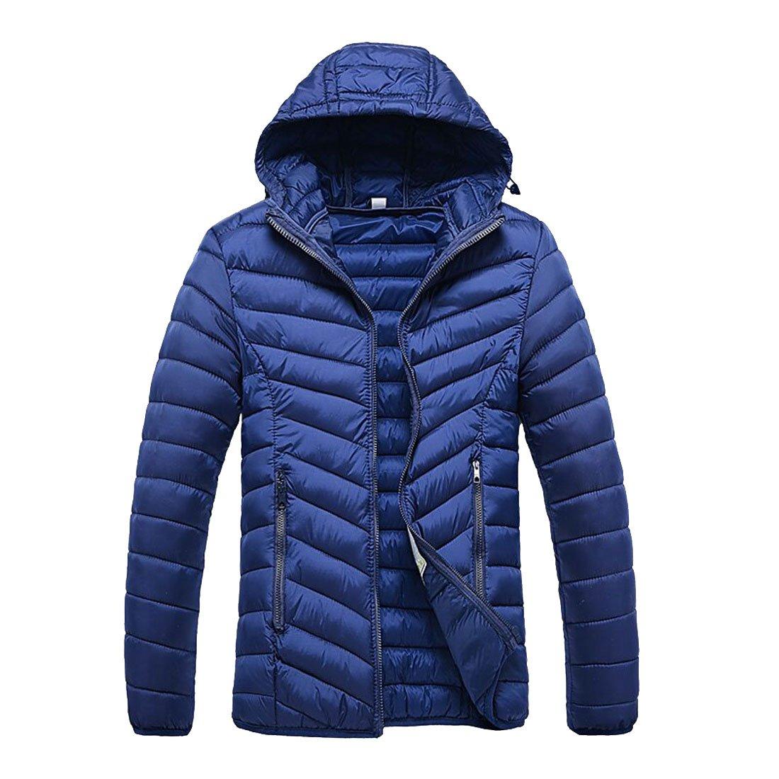 Dark bluee KLJR-Men Winter Winter Winter Full Zip Quilted Padded Hooded Coats Jacket Outdoor Jacket deb714