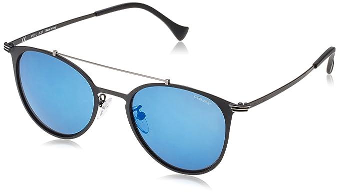 ba4aae70ac4 Image Unavailable. Image not available for. Colour  Police SPL156-599B Mens  Rival 9 SPL156-599B Matt Black Mirrored Blue Sunglasses