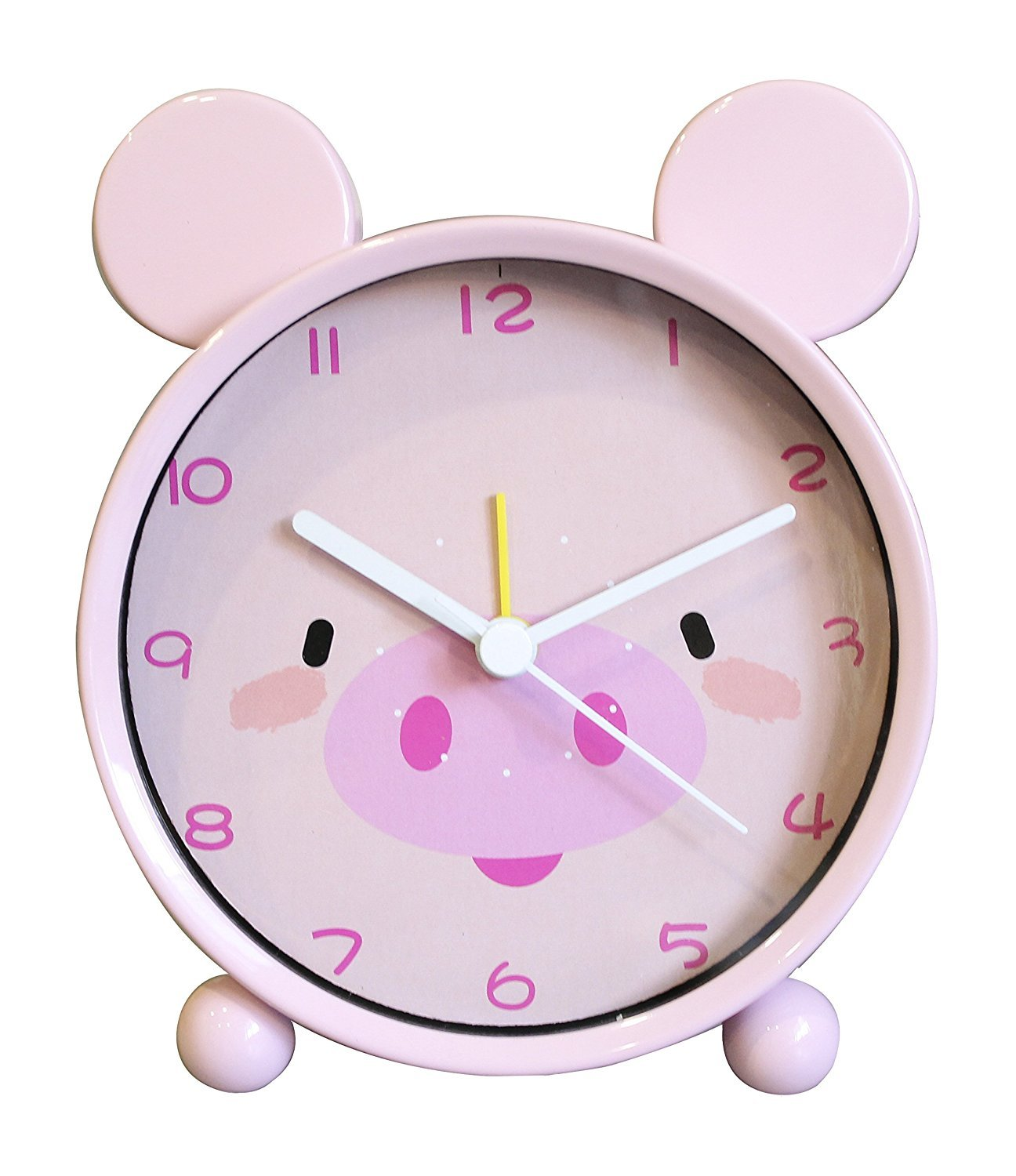 Girls Alarm Clock - SILENT - Mental Frame - Animal Alarm Clock For Kids - QUIET - Pig Pink
