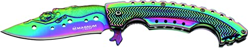 Boker 01LG318 Rainbow Mermaid Folding Knife with 440A Stainless Steel Blade, 3-1 4 , Magnum