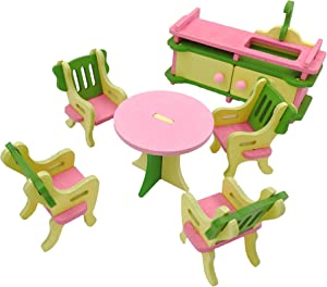 Twenis 1/12 Dollhouse Furniture Set of 5 Kitchen Accessories in Wood, Pretend Play, Nontoxic Paint, Smooth Edges