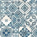 "RoomMates RMK11083WP Mediterranian Tile Peel and Stick Wallpaper, 20.5"" x 16.5 feet, Blue"
