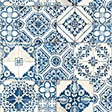 Mediterranian Tile Repositionable and Removable Peel and Stick Wallpaper