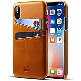 iPhone x ケース カード収納 2枚入れ アイフォンX カバー レザー 軽量 レトロブラウン Rssviss