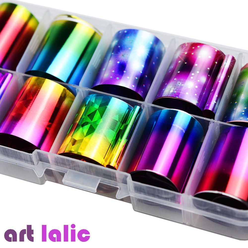 10/Sheet Pcs Holographic Nail Foil Set Transparent Starry Sky Nail Art Transfer Sticker artlalic