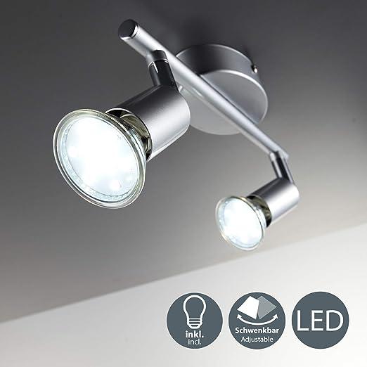 BKLicht - Lámpara de techo con 2 focos LED GU10, focos ajustables y giratorios para interiores, de luz blanca cálida, 3W y 250 lúmenes, 3000K, forma ...