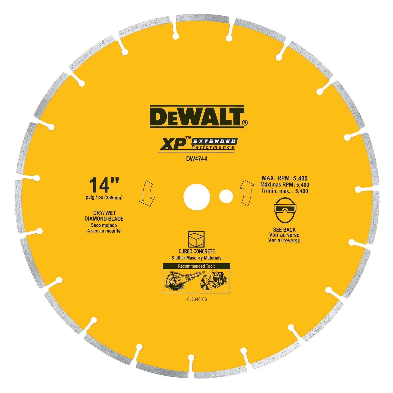 Disco de Diamante DEWALT DW4744 segmentado de 14 pulg. con eje de 1 pulgada para concreto curado