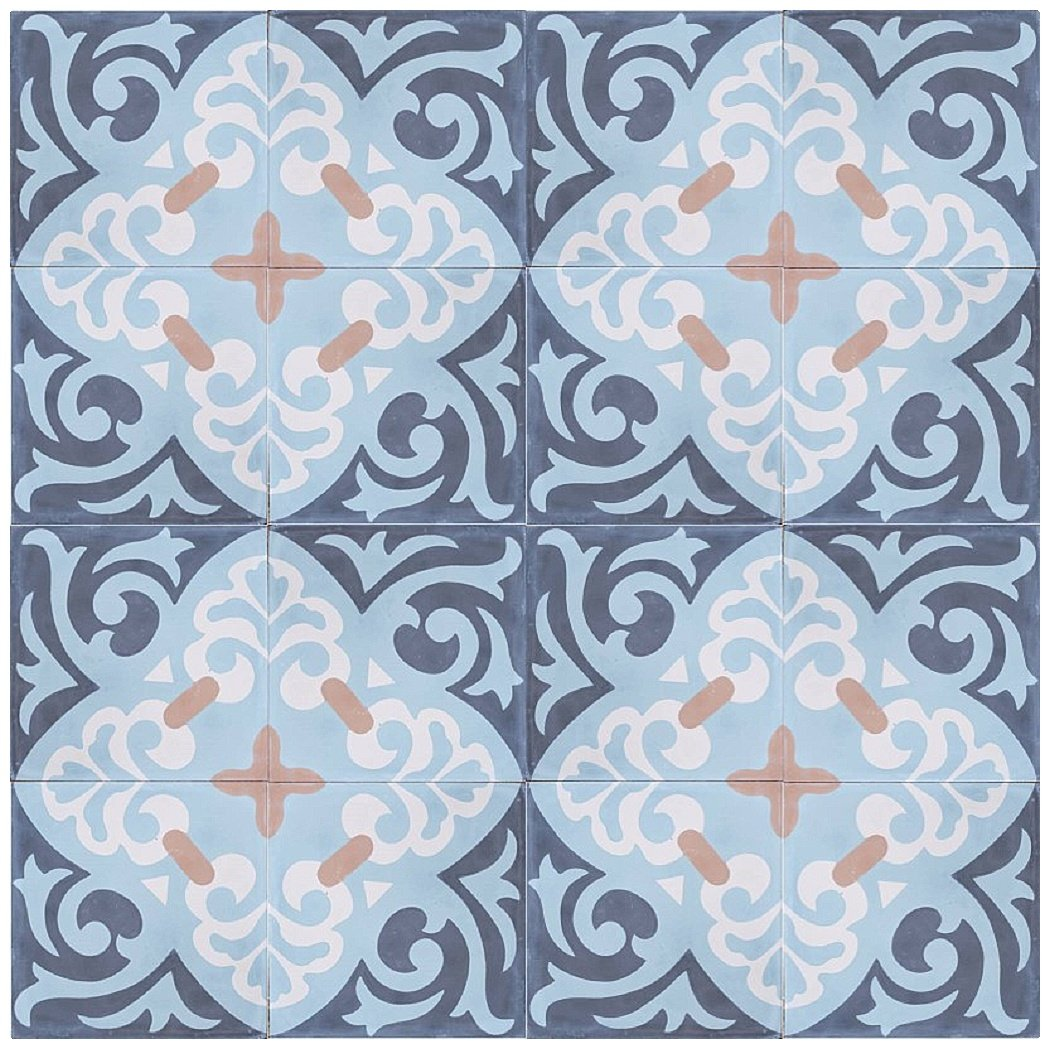 Rustico Tile and Stone RTS8 Espanola Cement Tile Pack of 13 Blue//Gray//Beige//Cream 8x 8