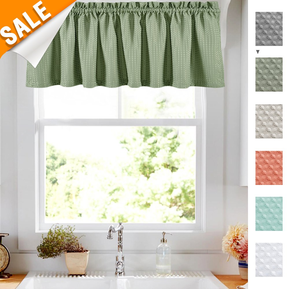 Olive Waffle Weave Cafe Sage Green Curtains Waterproof Kitchen Window Curtain Valance for Bathroom, 1 Panel 60 Width 18 inch Length