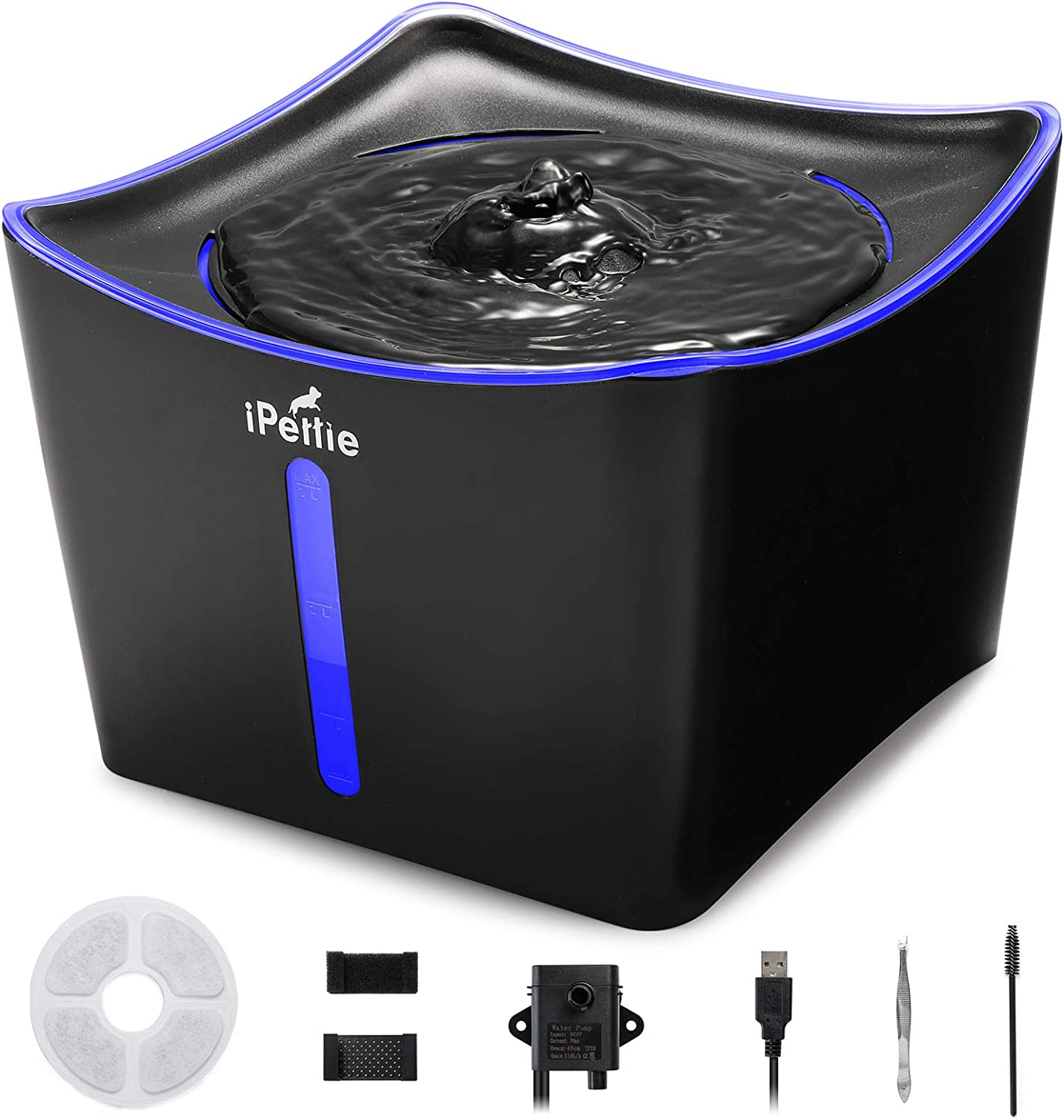 iPettie Kamino LED Light Pet Water Fountain 3L/101oz, Ultra-Quiet Automatic Water Dispenser with Water Level Window, USB Pump & Dual Filters for Cats and Dogs
