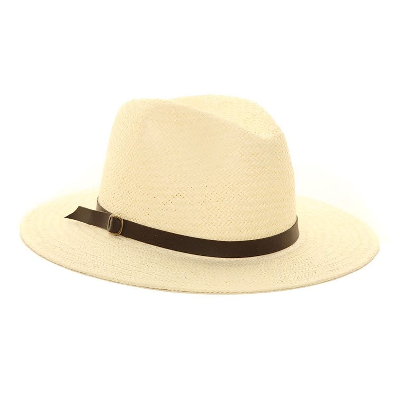 Unisex Straw Crushable Foldable Packable Summer Fedora,Panama Trilby Sun HAT with Belt Brown Band and Wider Brim