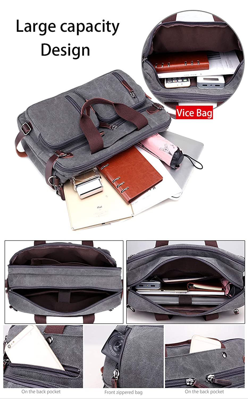 Men Handbags Canvas Shoulder Crossbody Messenger Bags Solid High Capacity Man Casual Travel Multifunction Back Pack Laptop