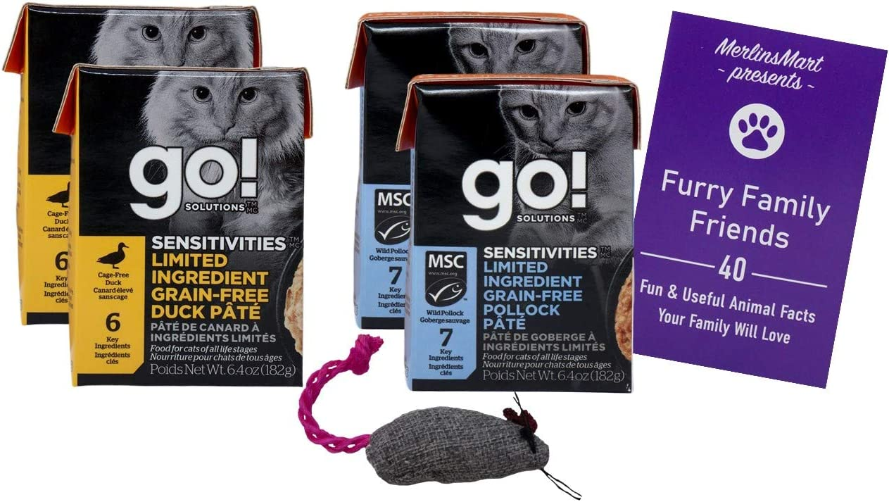 Go Solutions Wet Grain Free Pate Cat Food Limited Ingredient 2 Flavor Sampler with Catnip Toy | (2) Each: Duck, Pollack Fish (6.4 Ounces) | Plus Fun Animal Facts Booklet Bundle
