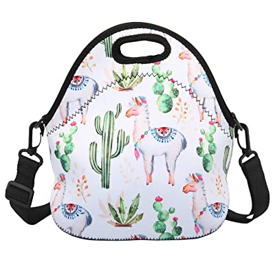 Violet Mist Insulated Neoprene Lunch Bag Thermal Tote Shoulder Strap Waterproof Outdoor Picnic Large Capacity Travel Handbag Lunch Box, Cactus Alpaca 1: Kitchen & Dining [5Bkhe0301172]
