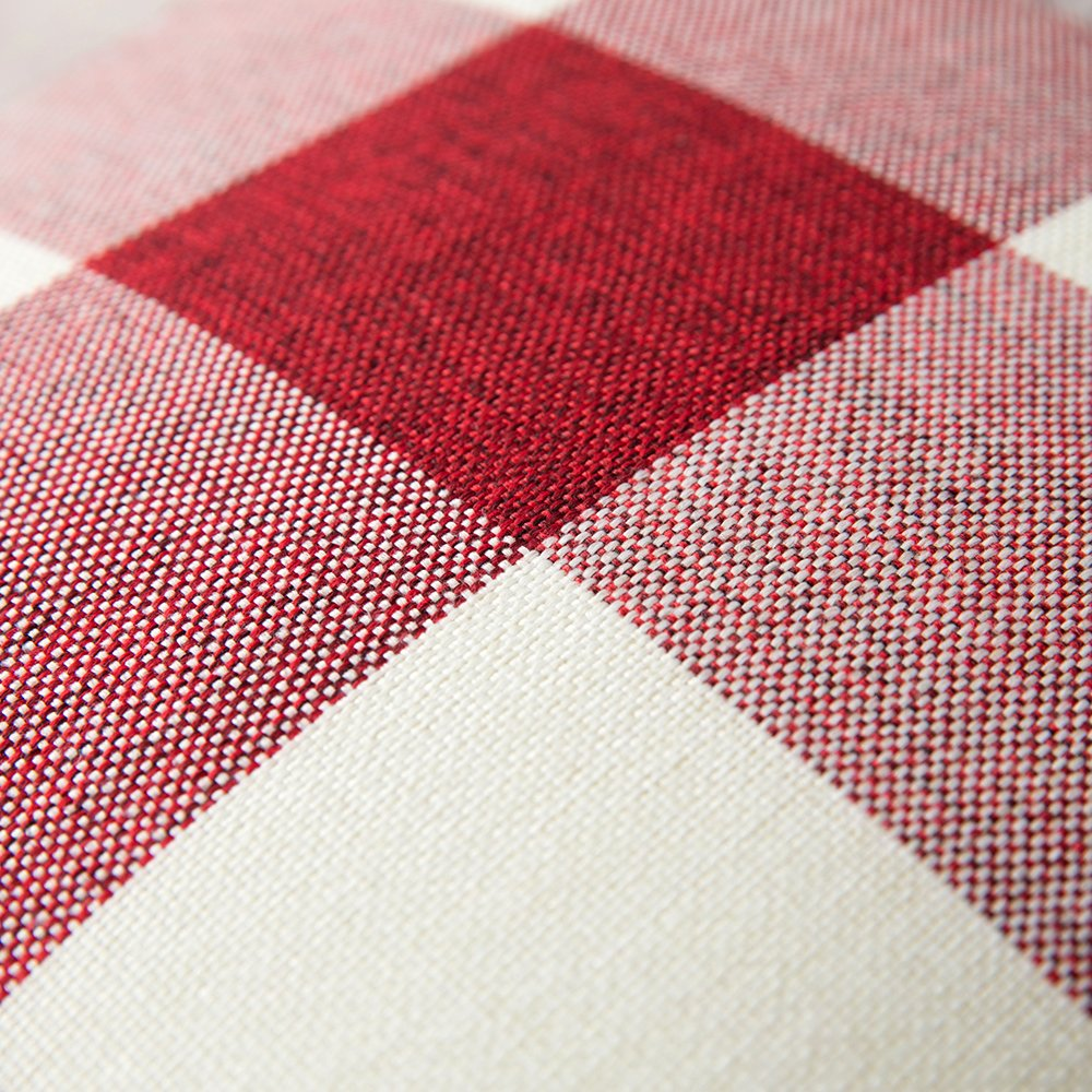 Holiday decor - red check pillows.