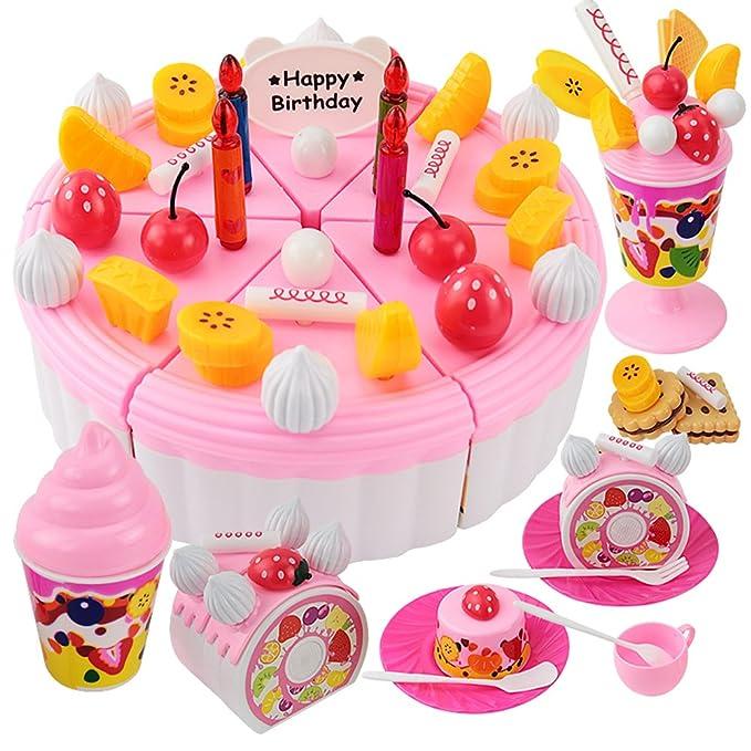 7 opinioni per FUDAER 73 pezzi DIY Frutta Compleanno taglio torta cibo giocattolo gioco