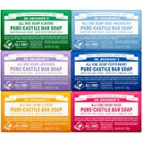 Dr. Bronner's - Pure-Castile Bar Soap (5 Ounce Variety Gift Pack) Almond, Unscented, Lavender, Peppermint, Citrus, Rose - Mad