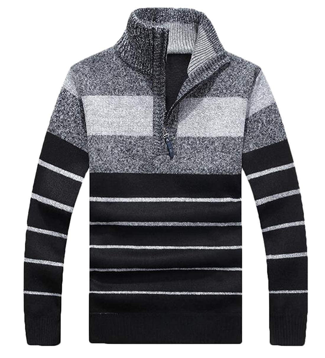 XiaoTianXinMen XTX Mens Fashion Warm 1//4 Zipper Striped Knit Mock Neck Pullover Sweater