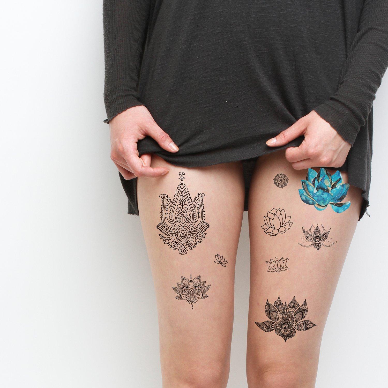 Amazon Tattify Assorted Lotus Flower Temporary Tattoos Body