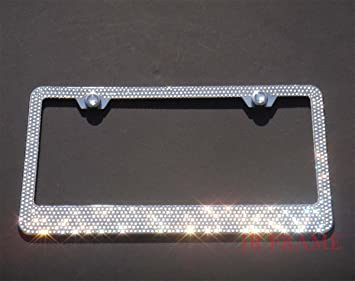 JR2 Bling 7 Rows White//Clear-C Diamond Crystal Metal Chrome License Plate Frame