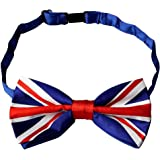 Kuou Men Union Jack Flag Style Silky Satin Bow Tie, Adjustable Pre Tied Bow Tie For Luxury and Classic Tuxedo Party,1 Piece