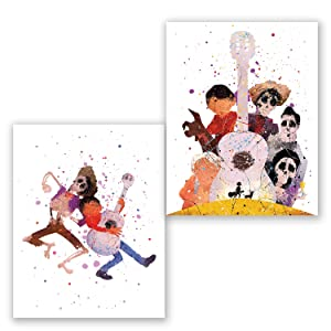PGbureau Coco Wall Art Decor Movie Posters – Set of 2 Prints – Party Supplies Decoration – for Kids – Kids Room Artwork (8x10)