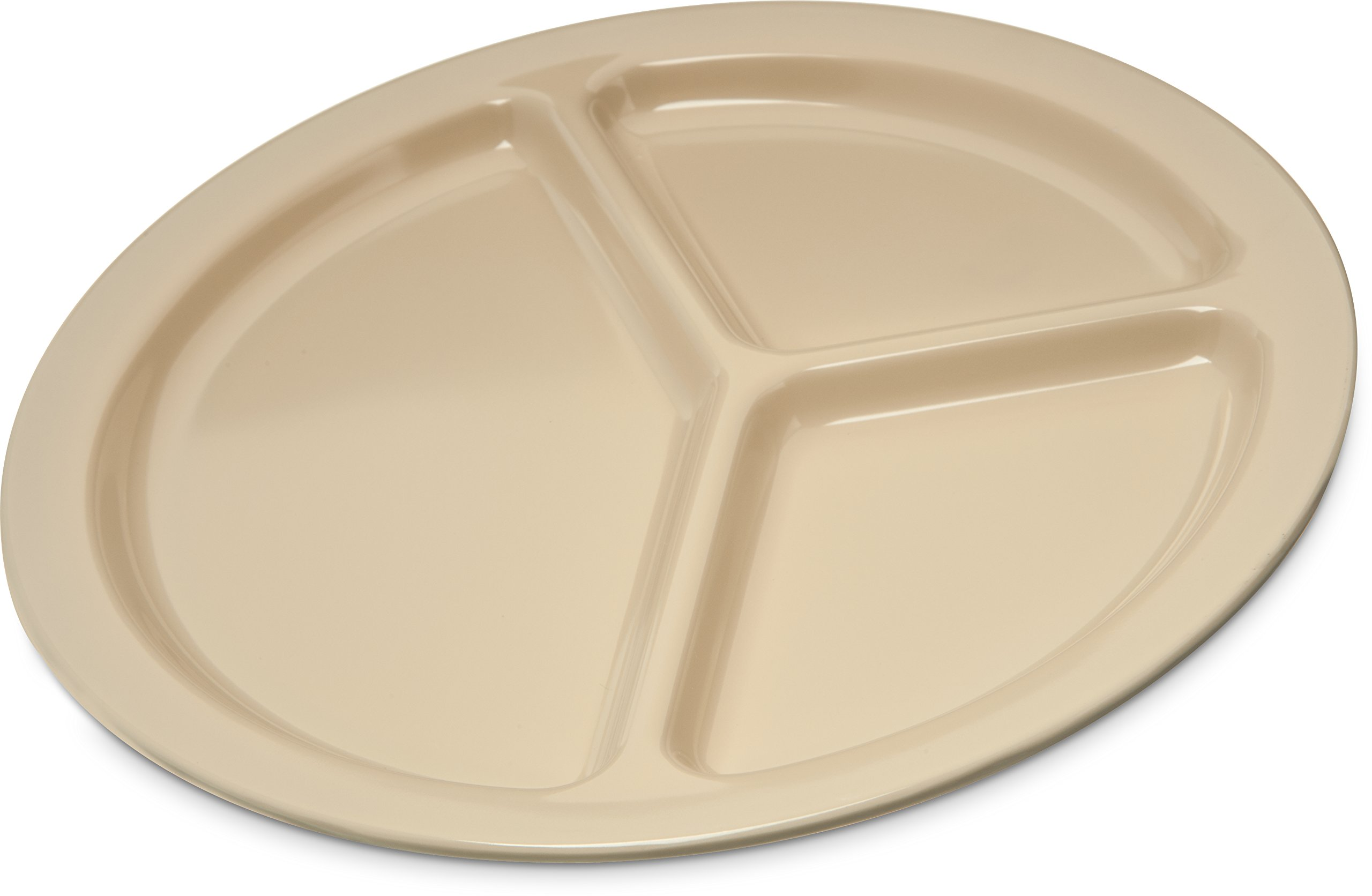 Carlisle KL10225 Kingline Melamine 3-Compartment Plate, 10'', Tan (Pack of 48)