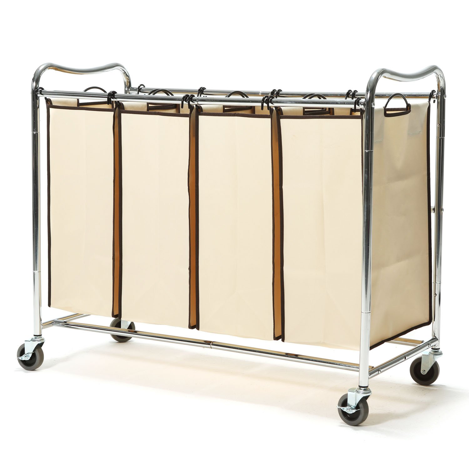 Heavy-Duty 4-Bag Rolling Laundry Sorter Storage Cart with Wheels, Chrome (HANKEY Brown)