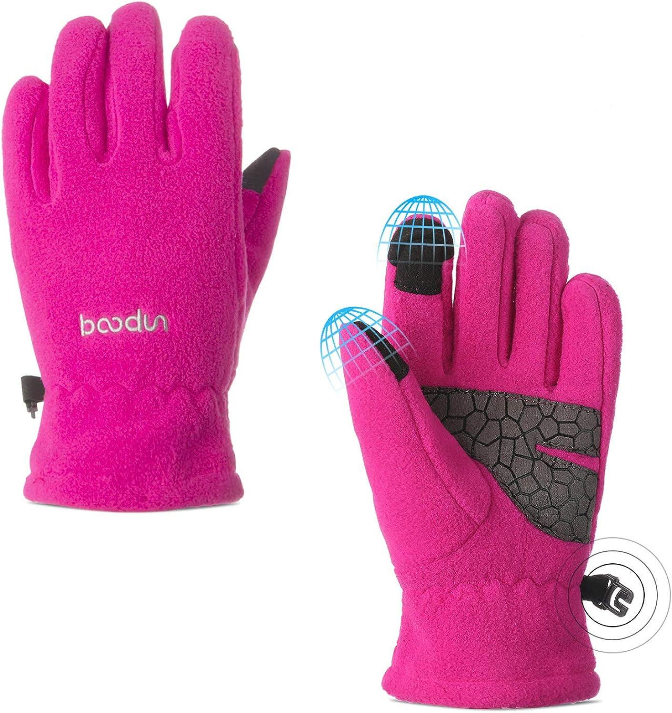3 Pairs Kids Winter Warm Gloves Soft Polar Fleece Gloves Cold Weather Warm Mittens for Boys Girls