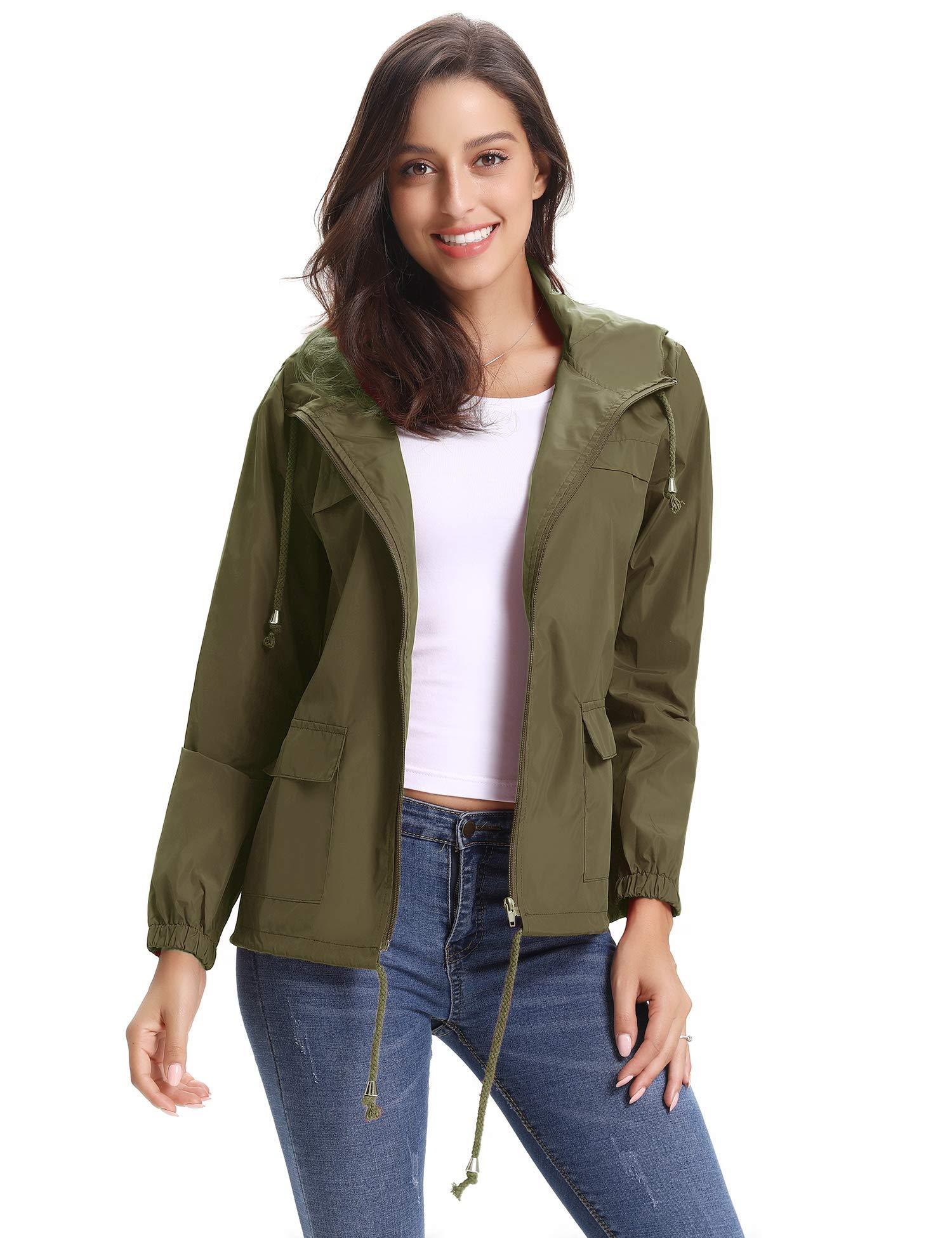 Abollria Women Lightweight Waterproof Raincoat Windbreaker Rain Jacket Outdoor Hooded Trench Coats