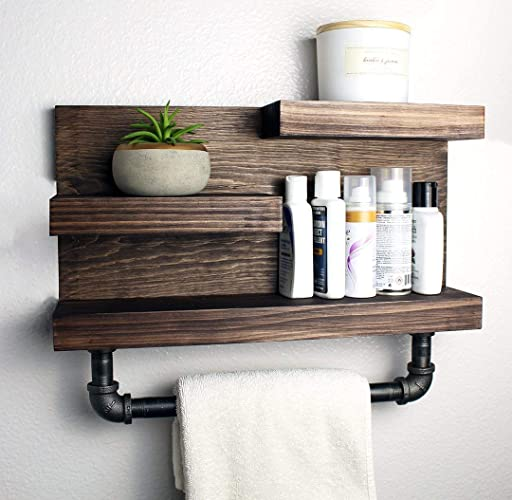 Bathroom Shelf With Industrial Farmhouse Towel Bar Country Rustic Storage Modern Farmhouse Apartment Decor Guest Storage