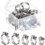 36 Pieces Multi Size Adjustable Stainless Steel Worm Drive Pipes Hose Clamps Clips with Storage Box