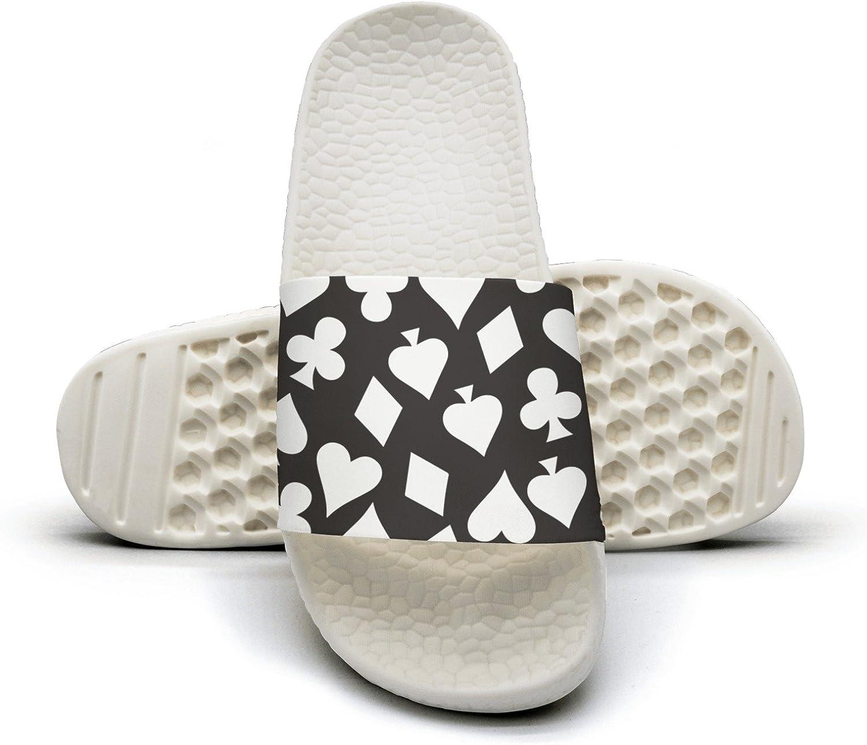 Mens Black Poker Symbols Non-Slip Soft Foams Slipper Home Slide Sandals