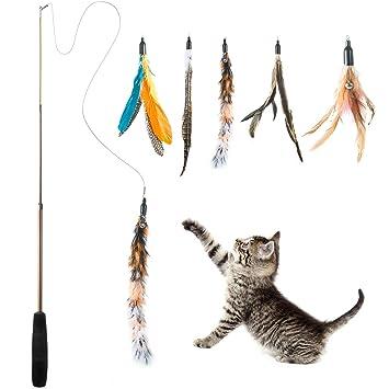 Wolintek Retráctil Natural de Plumas Varita Gato Juguete con 5 Plumas Juguetes interactivos para Gatos y Gatitos: Amazon.es: Productos para mascotas