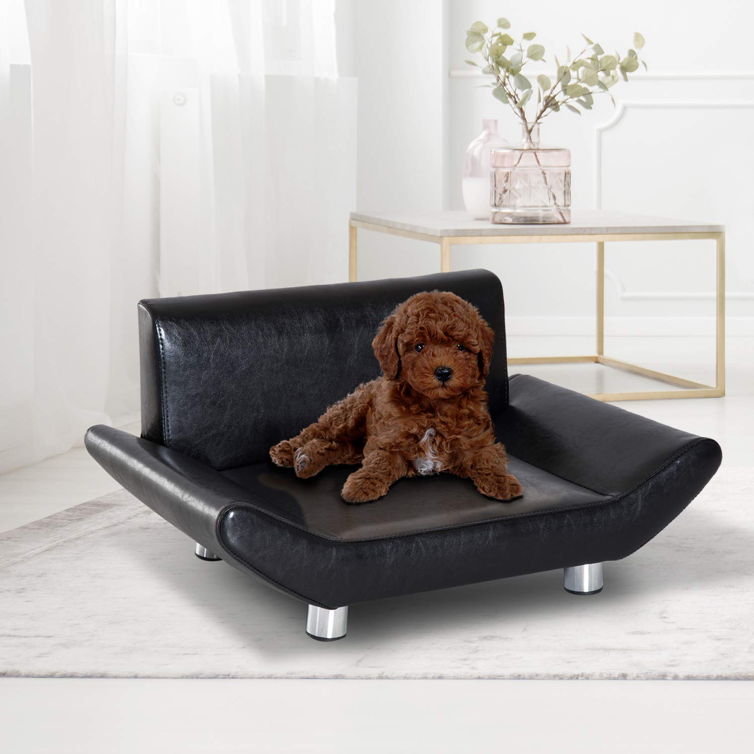 Sensational Pawhut Pet Sofa Chair Dog Cat Kitten Couch Bed Furniture Faux Leather Seater Black Machost Co Dining Chair Design Ideas Machostcouk
