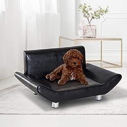 Pawhut Lit canapé Design Contemporain pour Chiens Chats 72L x 45l x 35H cm métal Simili Cuir Noir