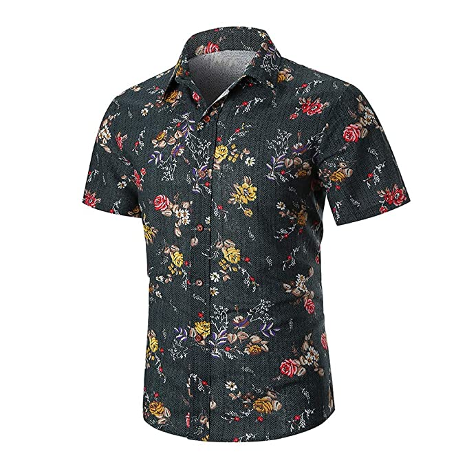 89233fe8be8 Image Unavailable. Image not available for. Color  Pandaie Mens Blouse  Shirts Men s Printing Stripe Gradient Casual Fashion Lapel Short Sleeve  Shirt Gray