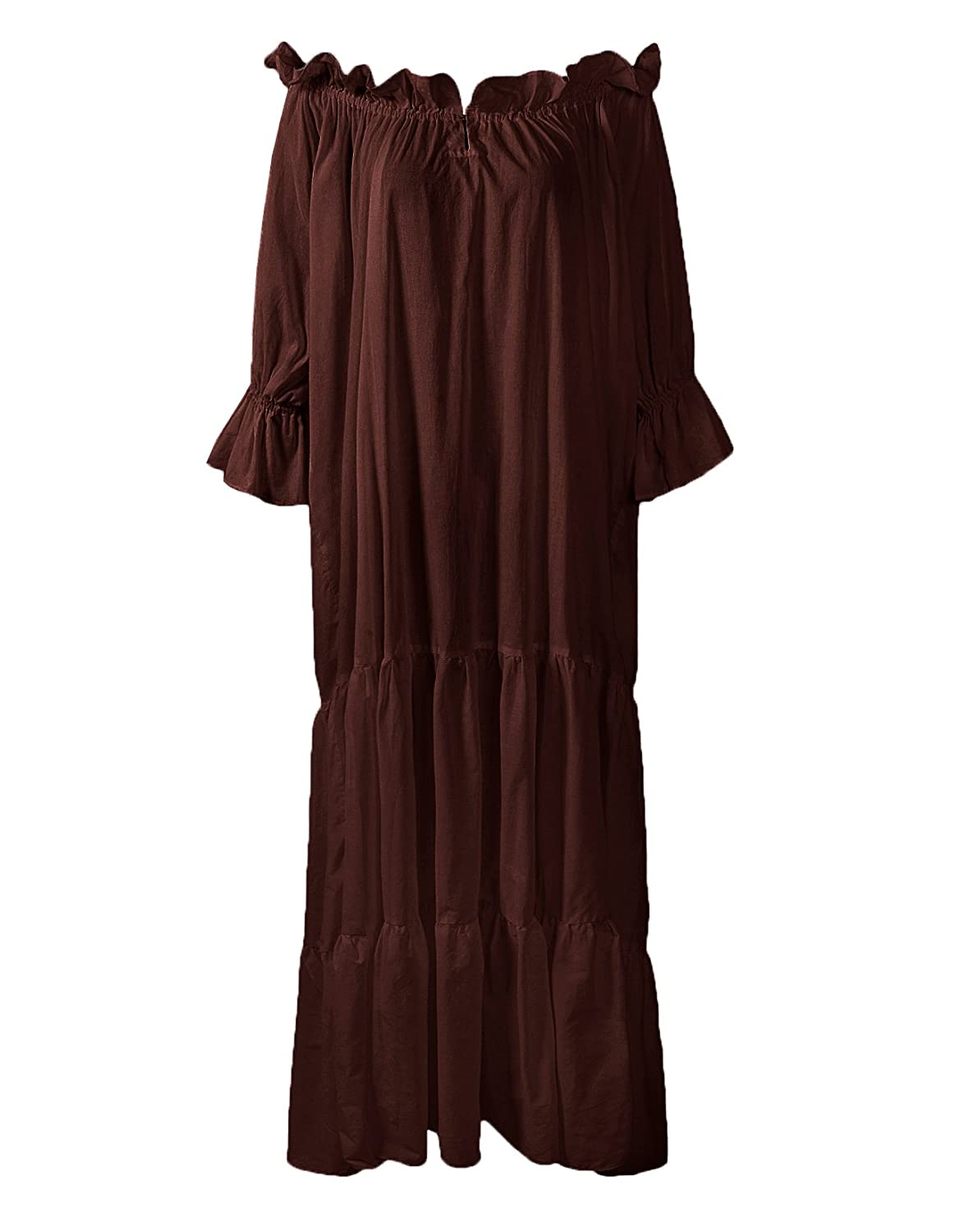 Renaissance Medieval Ruffled Tiered Sleeve Classic Brown Chemise - DeluxeAdultCostumes.com