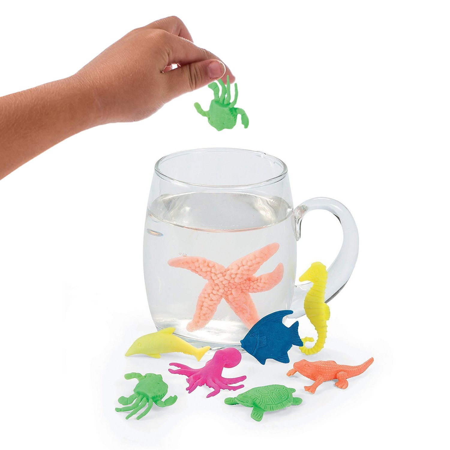 Kidsco Growing Animals Sea Life - Pack of 12 Creatures Figures, 1.25'' to 2'', Assorted Colored Animals - Grows Like Magic in Water - Fun Toy for Kids Boys and Girls, Party Favor, Gift, Prize by Kidsco (Image #3)