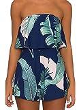 Lanzom Women Off Shoulder Romper Strapless Floral Print Jumpsuit Striped Beach Shorts