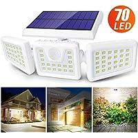 Claoner Luz Solar Exterior, 70 LED Foco Solar con Sensor de Movimiento Lámpara Solar de Seguridad Impermeable IP65 con 3 Cabezas Ajustable de 360° para Entrada Garaje Patio y Jardín